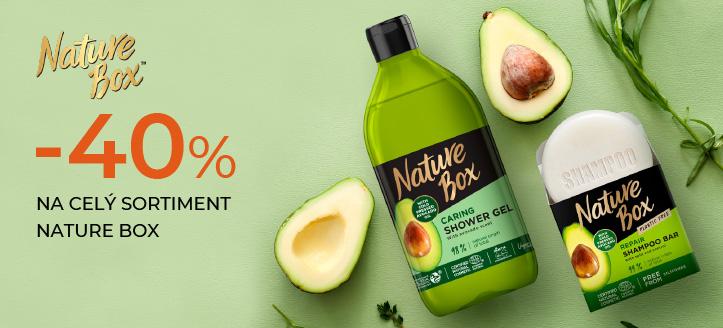 Zľava 40% na celý sortiment Nature Box. Ceny na stránke sú uvedené so zľavou