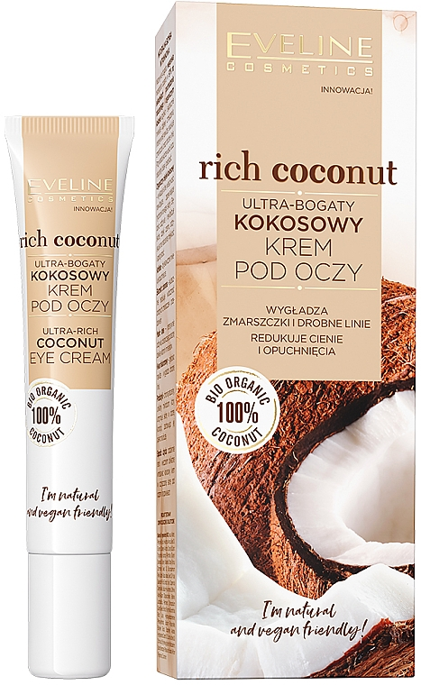 Krém na pokožku okolo očí bohatý na kokos - Eveline Cosmetics Rich Coconut Eye Cream