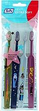 Voňavky, Parfémy, kozmetika Detské zubné kefky, zelená + modrá + svetlomodrá + ružová - TePe Kids Extra Soft