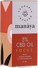 Voňavky, Parfémy, kozmetika Konopný olej na zlepšenie koncentrácie a pozornosti - Manaya 5 % CBD Oil Focus