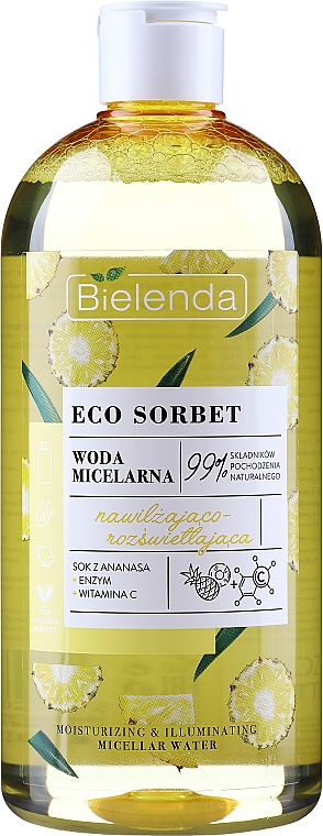 """Micelárna voda """"Zvlhčujúca a rozjasňujúca"""" - Bielenda Eco Sorbet Moisturizing&Illuminating Micellar Water"""