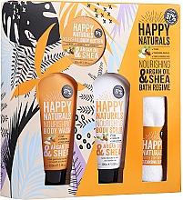 Voňavky, Parfémy, kozmetika Sada - Dirty Works Happy Naturals (sh/gel/100ml + b/butter/100ml + scrub/100ml + flannel/towel)