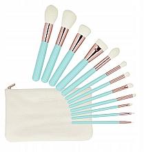 Voňavky, Parfémy, kozmetika Sada štetcov na make-up, s puzdrom, 12 ks - Tools For Beauty MiMo Turquoise Set