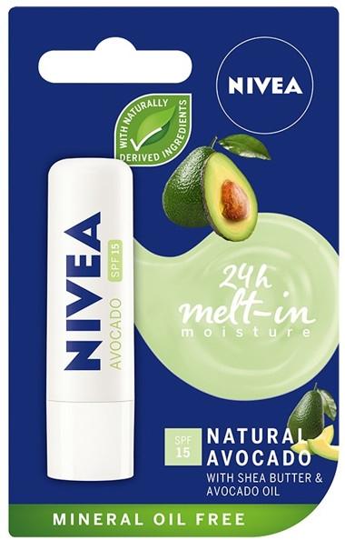 """Balzam na pery """"Avocado"""" - Nivea 24H Melt-in Natural Avocado Lip Balm SPF15"""