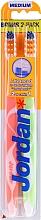 Voňavky, Parfémy, kozmetika Stredná zubná kefka Advanced, oranžová + svetlozelená - Jordan Advanced Medium