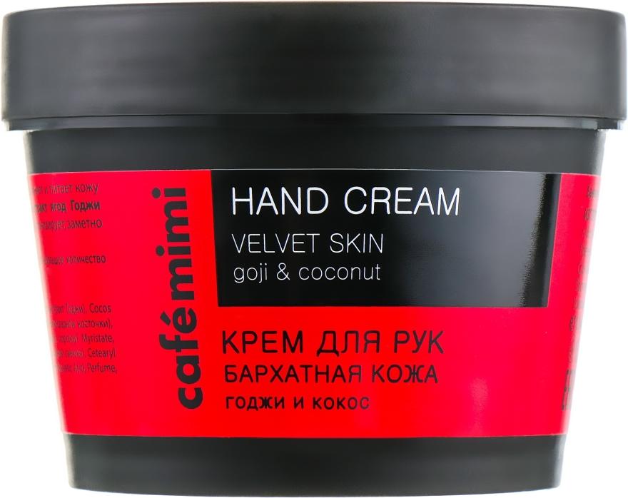 """Krém na ruky """"Sametová pokožka"""" bobule goji a kokos - Cafe Mimi Hand Cream Velvet Skin"""