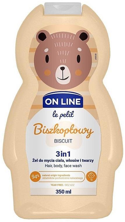 "Prostriedok na umývanie vlasov, tela a tváre ""Biscuit"" - On Line Le Petit Biscuit 3 In 1 Hair Body Face Wash"