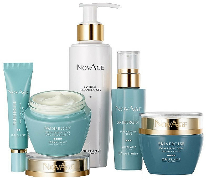 Sada - Oriflame NovAge Skinergise Set (gel/150ml+eye/cr/15ml+ser/30ml+day/cr/50ml+/night/cr/50ml)