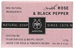 """Voňavky, Parfémy, kozmetika Mydlo """"Ruža a čierne korenie"""" - Apivita Soap with Rose and Black pepper"""