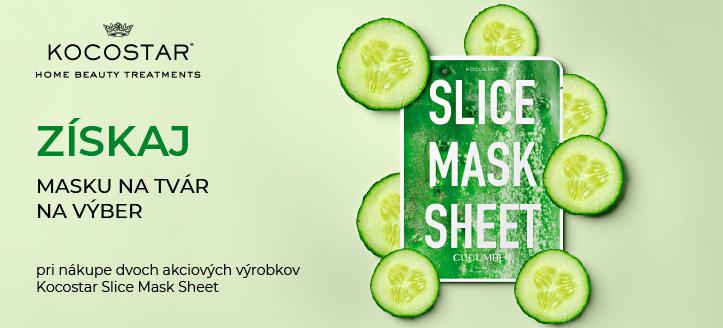 Pri nákupe dvoch akciových výrobkov Kocostar Slice Mask Sheet získaj ako darček masku na tvár na výber