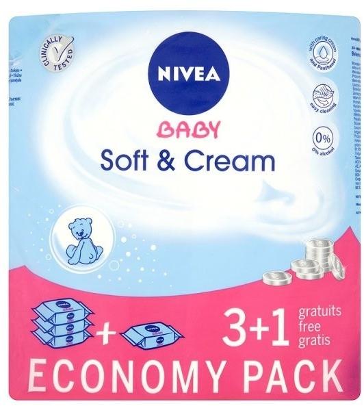 """Vlhčené obrúsky """"Detské"""" 4x63ks - Nivea Baby Soft & Cream"""