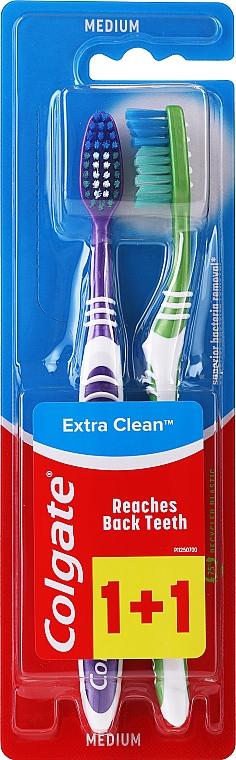 """Zubná kefka stredne tvrdá """"Extra Clean"""", fialová + zelená, s bielymi pruhmi - Colgate Extra Clean Medium"""