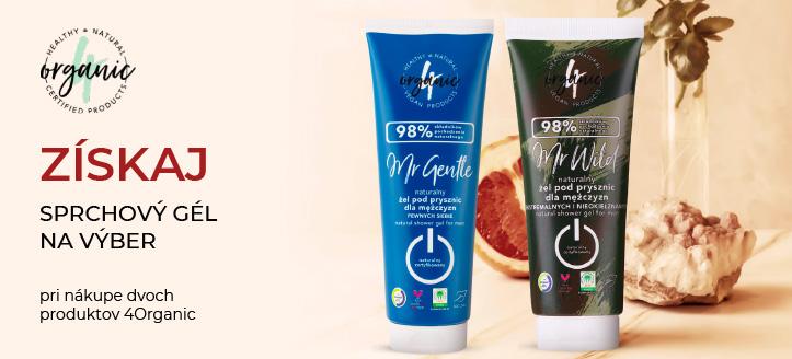 Pri nákupe dvoch produktov 4Organic získaj ako darček sprchový gél na výber