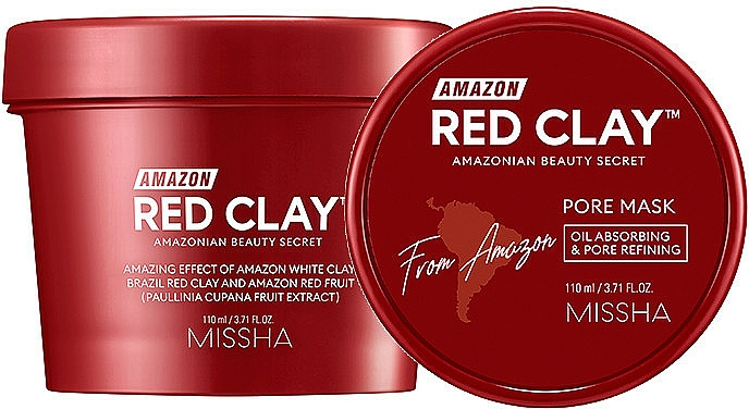Maska na tvár na báze červenej hliny - Missha Amazon Red Clay Pore Mask