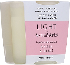 "Voňavky, Parfémy, kozmetika Vonná sviečka ""Bazalka a limetka"" - AromaWorks Light Range Basil & Lime Candle"