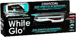 """Voňavky, Parfémy, kozmetika Sada """"Svieži dych"""" s čierno-bielou zubnou kefkou - White Glo Charcoal Bad Breath Eliminator (t/paste/100ml + t/brush/1)"""