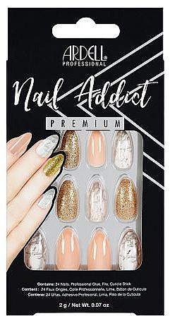 Sada umelých nechtov - Ardell Nail Addict Premium Artifical Nail Set Pink Marble & Gold — Obrázky N1