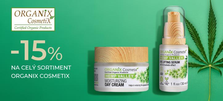 Zľava 15% na celý sortiment Organix Cosmetix. Ceny na stránke sú uvedené so zľavou