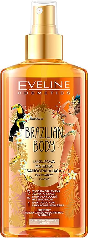 Hydratačný olej na tvár a telo s opaľovacím efektom - Eveline Cosmetics Brazilian Mist Face & Body