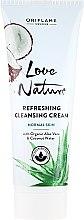 Voňavky, Parfémy, kozmetika Čistiaci krém na tvár s organickým aloe a kokosovou vodou - Oriflame Love Nature Refreshing Cleansing Cream