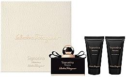 Voňavky, Parfémy, kozmetika Salvatore Ferragamo Signorina Misterioasa - Sada (edp/50ml+b/lot/50ml+sh/gel/50ml)