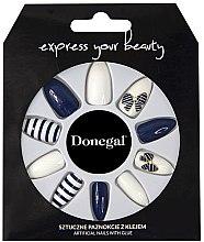 Voňavky, Parfémy, kozmetika Sada umelých nechtov, modrá s bielou - Donegal Express Your Beauty