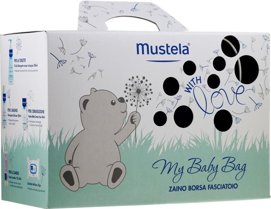 Sada - Mustela My Baby Bag Set (water/300ml + gel/shm/200ml + f/cr/40ml + b/cr/50ml + wipes/25pcs + bag)