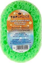 Voňavky, Parfémy, kozmetika Špongia do kúpeľa oválna 30420, bielo-zelená - Top Choice