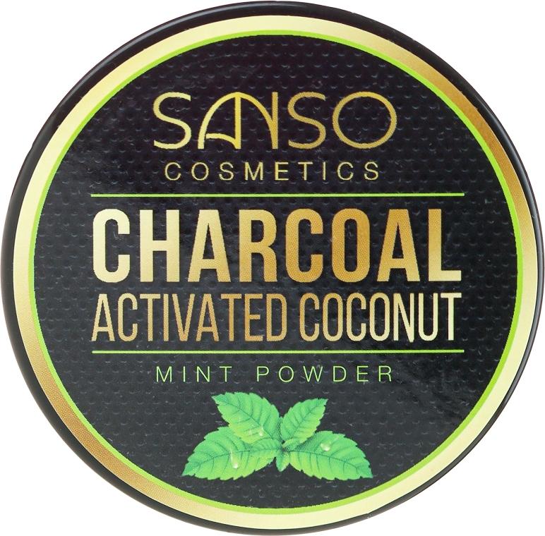 Mätový bieliaci zubný prášok - Sanso Cosmetics Charcoal Activated Coconut Mint Powder