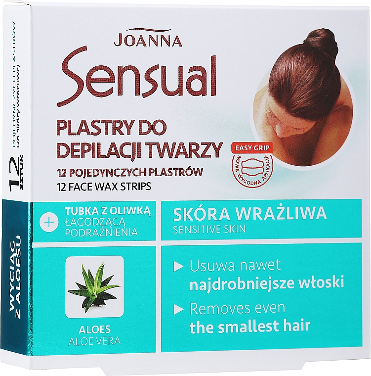 Voskové pásky na depiláciu tváre s extraktom z aloe vera - Joanna Sensual Depilatory Face Strips