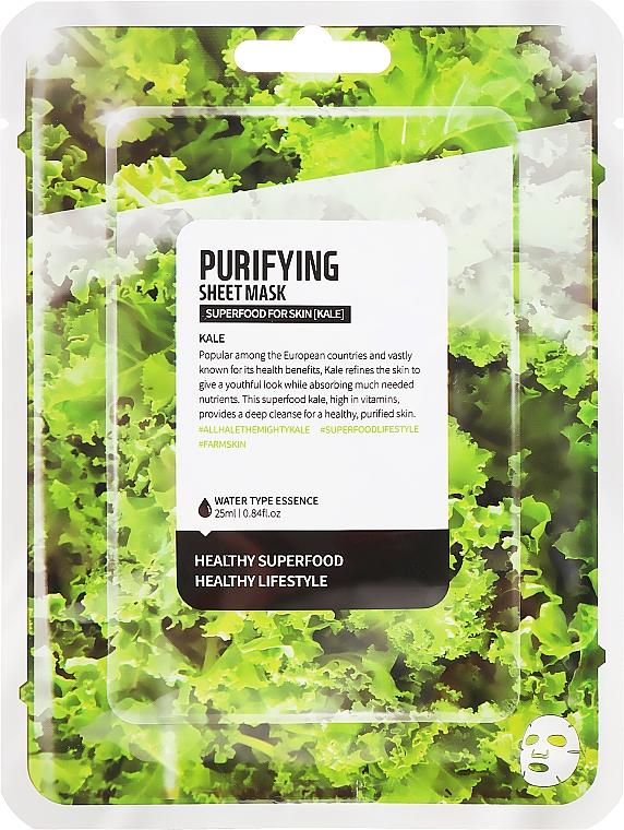 "Textilná maska na tvár ""Kapusta Kale"" - Farmskin Superfood For Skin Purifying Sheet Mask — Obrázky N1"
