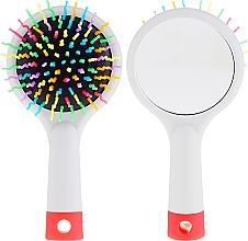 Voňavky, Parfémy, kozmetika Kefa na vlasy so zrkadlom, sivá - Twish Handy Hair Brush with Mirror Light Grey