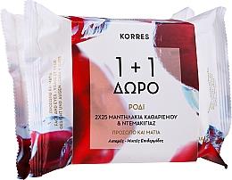 Voňavky, Parfémy, kozmetika Čistiace obrúsky na tvár s granátovým jablkom, 25+25 ks. - Korres Pomegranate Cleansing & Make-Up Removing Wipes