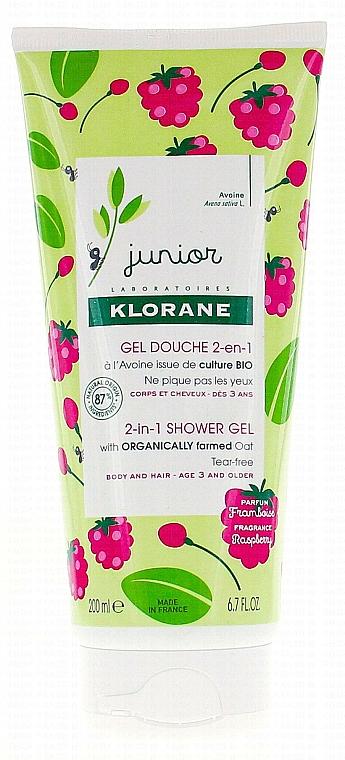 Detský gél na umývanie vlasov a tela - Klorane Junior 2in1 Shower Gel Body & Hair Raspberry — Obrázky N1
