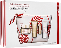 Voňavky, Parfémy, kozmetika Sada - Clarins Nutri-Lumiere Christmas Set (f/cr/50ml+f/cr/15ml+f/lot/10ml+h/cr/30ml+bag)