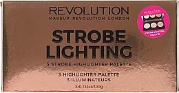 Voňavky, Parfémy, kozmetika Paleta rozjasňovačov na tvár - Makeup Revolution 3 Strobe Highlighter Palette