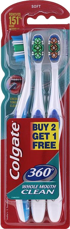 Sada mäkkých zubných kefiek, modrá + zelená + oranžová - Colgate 360 Soft — Obrázky N1