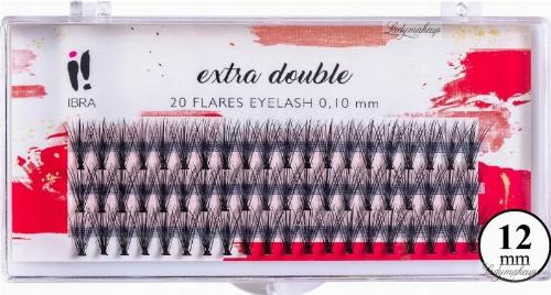 Falošné mihalnice, trsy C 0,1 mm, 12 mm - Ibra Extra Double 20 Flares Eyelash C 12 mm