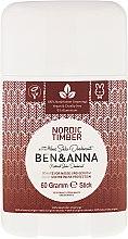 """Voňavky, Parfémy, kozmetika Dezodorant na báze sódy """"Northern Forest"""" (plast) - Ben & Anna Natural Soda Deodorant Nordic Timber"""
