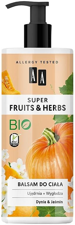 "Lotion na telo ""Tekvica a jazmín"" - AA Super Fruits & Herbs"