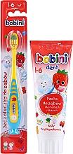 Voňavky, Parfémy, kozmetika Sada s modro-žltým štetcom, 1-6 rokov  - Bobini (toothbrush/1pc + toothpaste/75ml)