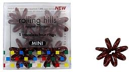 Voňavky, Parfémy, kozmetika Gumička-náramok do vlasov, mini, hnedá - Rolling Hills 5 Traceless Hair Rings Mini Brown