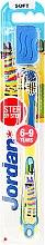 Voňavky, Parfémy, kozmetika Detská zubná kefka Step 3 (6-9) mäkká, žlto-modrá, zebra - Jordan