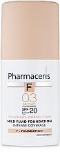 Voňavky, Parfémy, kozmetika Jemný tonálny fluid SPF20 - Pharmaceris F Intense Coverage Mild Fluid Foundation SPF20