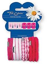 Voňavky, Parfémy, kozmetika Sada štipcov a gumičiek na vlasy 28113, 6+12 ks, ružová - Top Choice