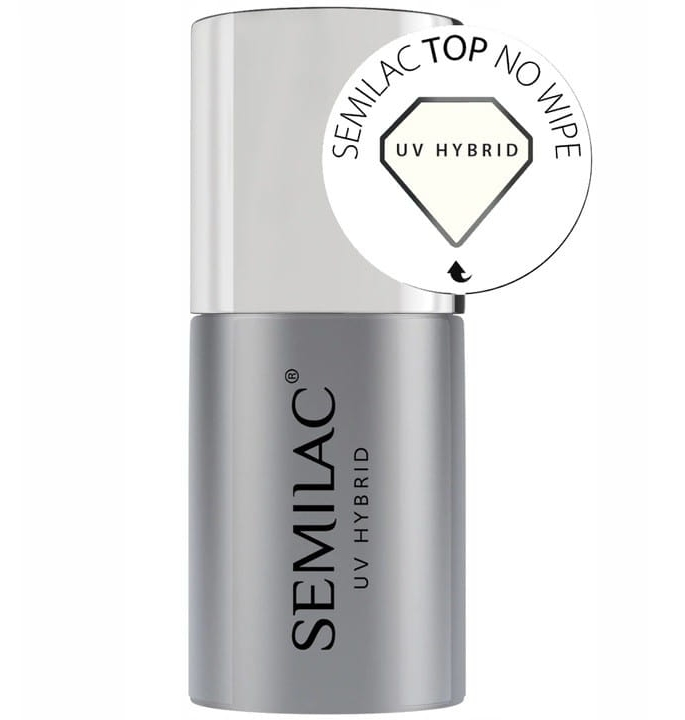 Vrchný lak bez lepivej vrstvy - Semilac UV Hybrid No Wipe — Obrázky N1