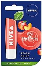 """Voňavky, Parfémy, kozmetika Balzam na pery """"Broskyňový lesk"""" - Nivea Lip Care Peach Shine Lip Balm"""