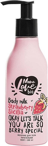 """Výživné mlieko na telo """"Jahoda"""" - MonoLove Bio Strawberry Sicilia Body Milk"""