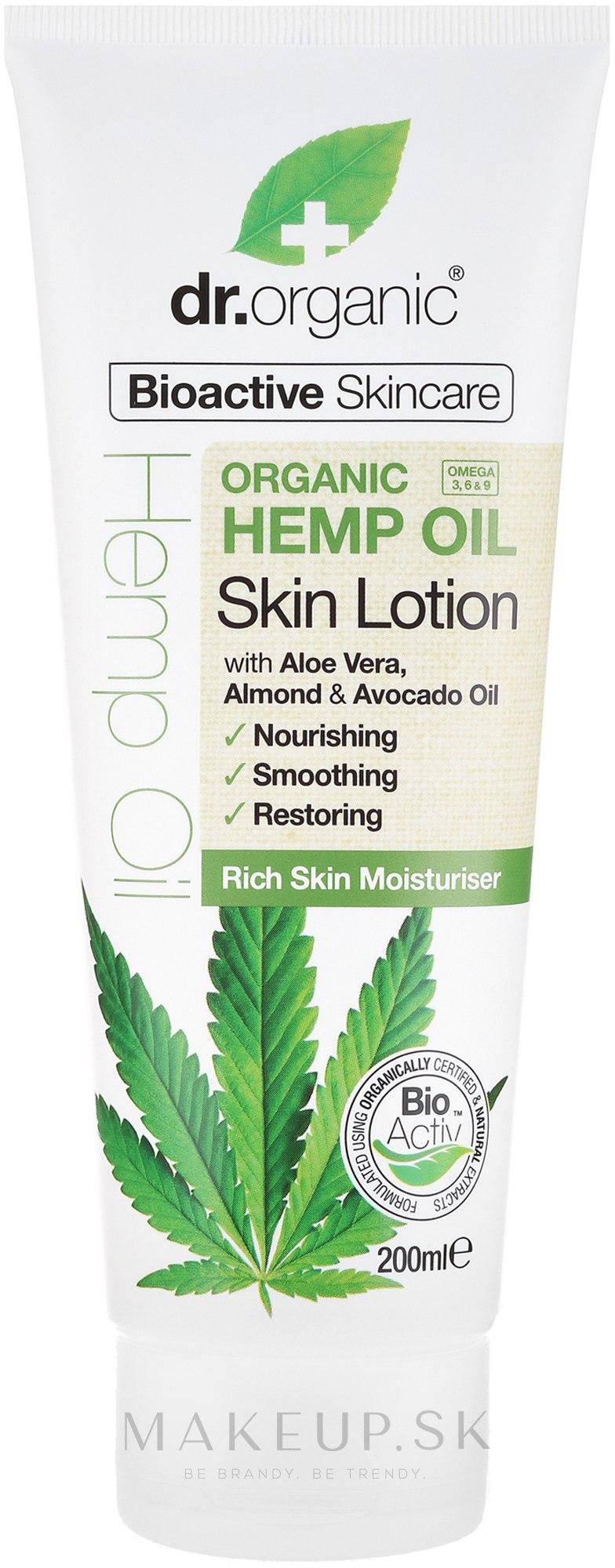 """Telové mlieko """"Konopný olej"""" - Dr. Organic Bioactive Skincare Hemp Oil Skin Lotion — Obrázky 200 ml"""