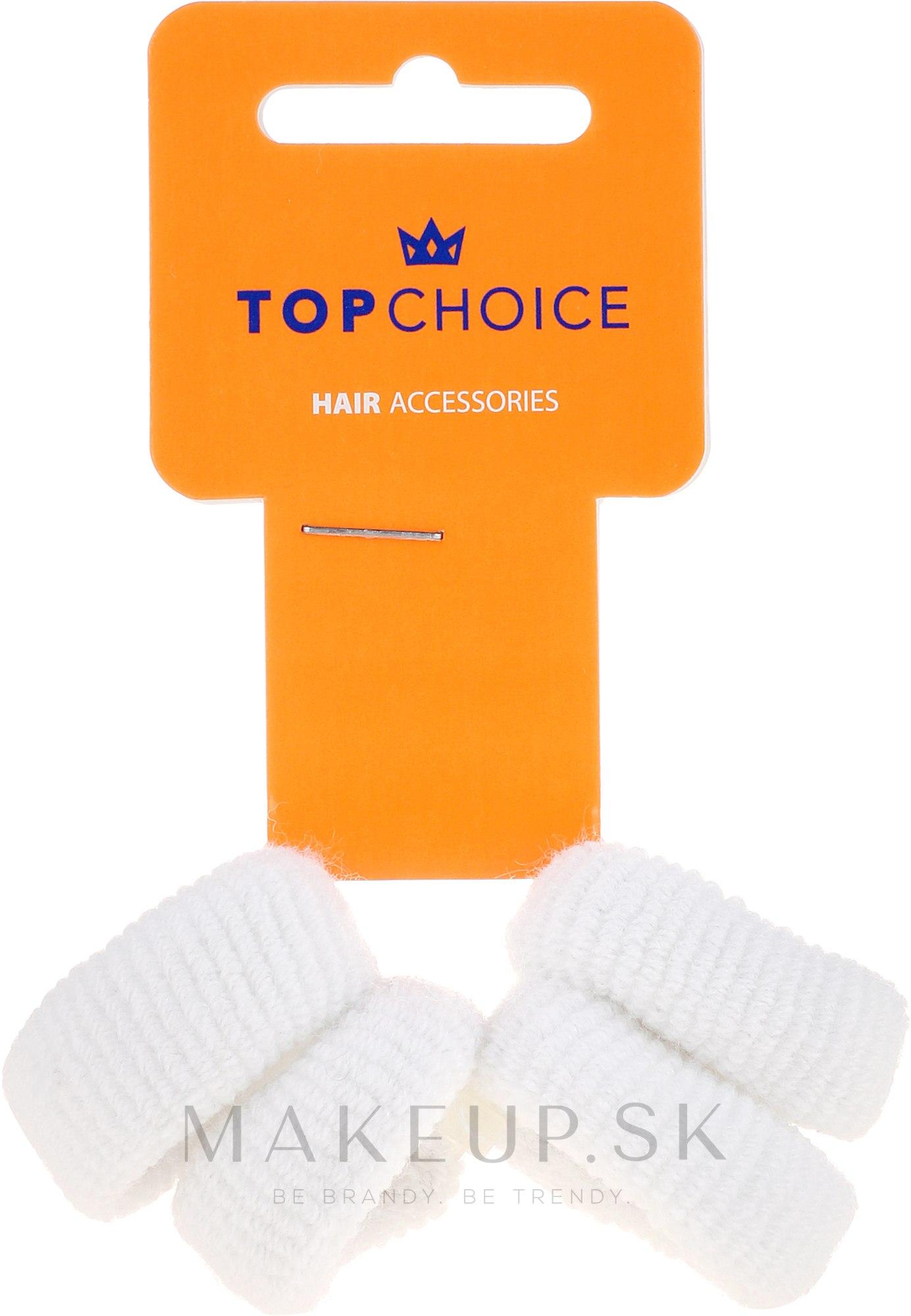 Gumičky na vlasy 4 ks, biele - Top Choice — Obrázky 4 ks.